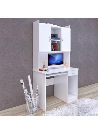 Forahome Nidia Kitaplıklı Çalışma Masası, Bilgisayar Masası Beyaz